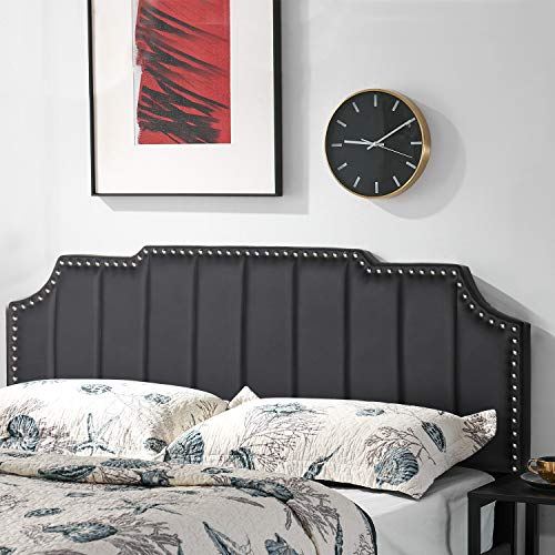 VECELO Faux Leather Upholstered Black Queen Size Headboards, with Vertical Channel Tufting Bed Backboard