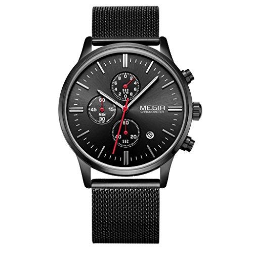 chiwanji Reloj de Lujo de Los Hombres del Dial de Los Deportes Inoxidables del Acero Inoxidable del Cuarzo del Cronógrafo - Negro