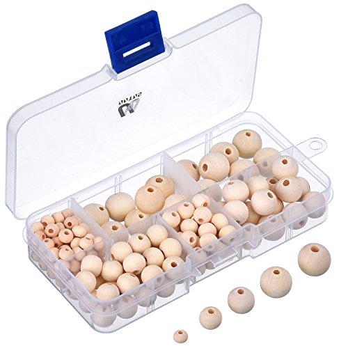 150 Pezzi Perline Legno Naturale con Scatola per Fare Gioielli Fai da Te, 5 Formati (6 mm/ 8 mm/ 10 mm/ 12 mm/ 14 mm)