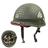 WM&LJP Segunda Guerra Mundial Ejército De EE.UU. M1 Verde Casco Replica con Net/Lienzo Correa De Barbilla DIY Pintura