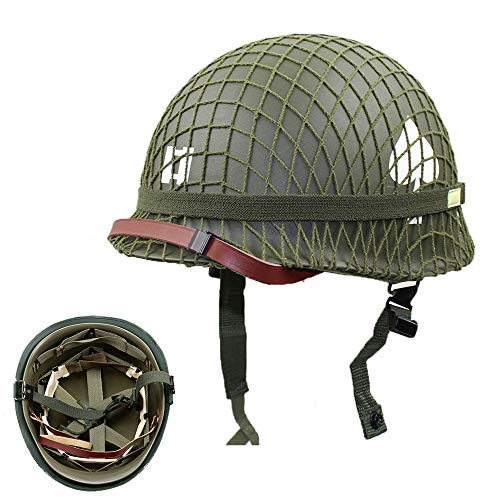WWII US Army M1 Green Helmet Replica with Net/Canvas Chin Strap DIY Painting