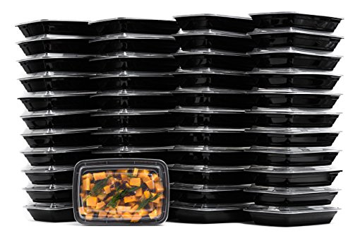 Meal Prep Containers with Cutlery [150 Pack] Single 1 Compartment by EcoQuality- Food Storage Lunch Box | Bento Box | BPA FREE| Freezer/Microwave/Dishwasher Safe – Airtight/Watertight/Stackable (28oz)