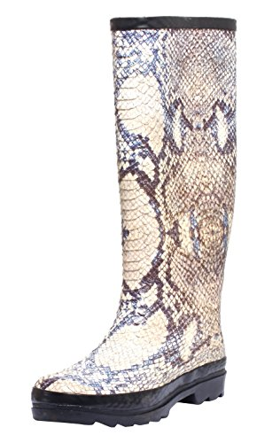 Dames modieuze regenlaarzen rubberen laarzen lange schacht dameslaarzen laarzen met slangenprint Animal Print maat 37-39.