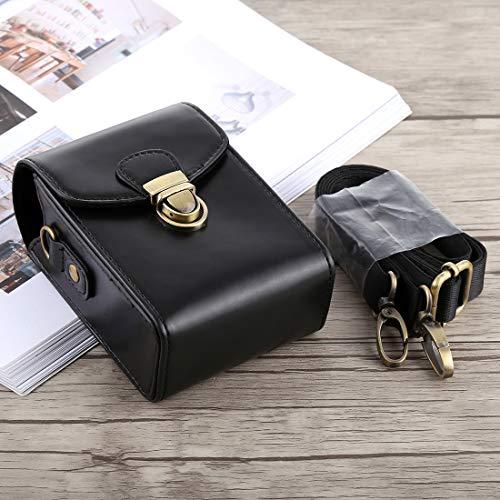 Consumer YHM Ganzkörperkamera Schnallenverschluss PU Leder Tasche mit Handschlaufe & Umhängeband for Canon G7X II / G9X Mark II, Sony RX100 / M2 (Schwarz) (Color : Black)