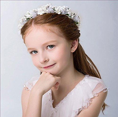 KMALL Bianco coroncina fiori capelli regolabile fiore per sposa damigella strass perlina d'onore bambina donna per matrimonio fotografia corona ghirlanda fiori fascia fiori