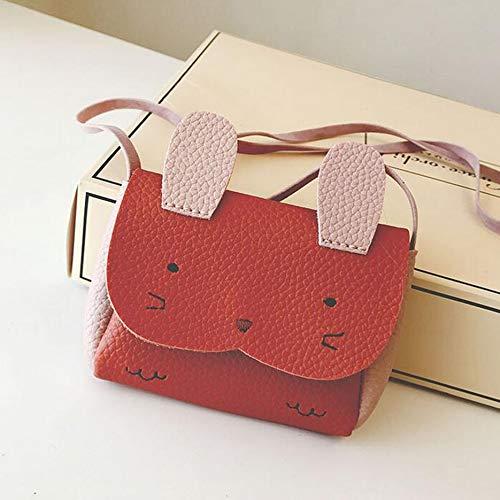 Mini conejito de un solo hombro, bolso de hombro colgado, mochila con adorno de dibujos animados de animales adorables, bolso pequeño para niños y niñas (rojo)