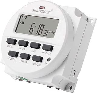 SINOTIMER TM618N-6V 6V LCDデジタルACプログラマブルタイマースイッチ、ULリスト付きリレー内部、カウントダウン時間機能付き(ホワイト)