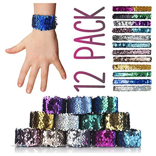 CORAL ENTERTAINMENTS Mermaid Slap Bracelet 12 Pack for Birthday Party Favors, Two-Color Decorative Reversible Charm Sequins Flip Wristband Bracelet for Kids,Girls,Boys,Women