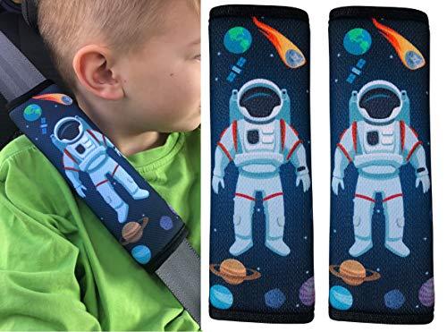 2x Protectores para cinturón de seguridad HECKBO® con dibujos de astronauta y del espacio exterior, protectores de hombros, almohadillas para el hombro, bicicleta, para sillín de bicicleta para niños