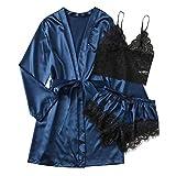 YDZY, Pijamas Sexis de satén, Bata, lencería de Encaje, camisón de Seda para Mujer, Pantalones con cinturón, Conjunto de Pijamas Sexis para Mujer, 3 uds.