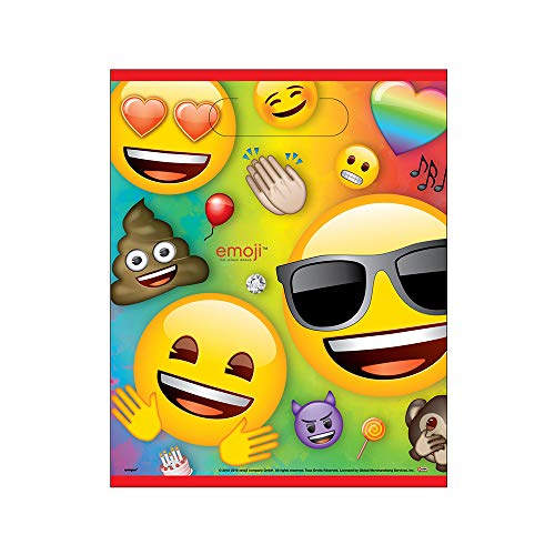 Unique Party 79443 Partytaschen - Regenbogen-Spaß Emoji Party - 8er-Pack