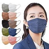 アイリスオーヤマ マスク 不織布 血色マスク カラーマスク ふつうサイズ 60枚入 APN-60LNV ネイビー
