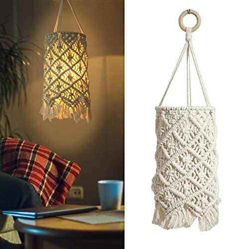 Lámpara de techo bohemia macramé, pequeña, vintage, lámpara de mesa, hecha a mano, cuerda de algodón, lámpara decorativa para velas, candelabros de cristal, lámpara de pared (sin bombilla)