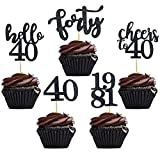 40 PCS Black Glitter 40th Birthday Cupcake Toppers Set for 40th Birthday Celebrating Party Decorations