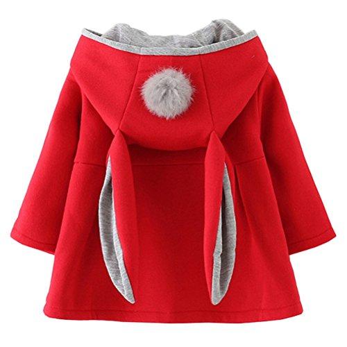 Baby Girls Winter Autumn Cotton Warm Jacket Coat (2T,(10) Red)