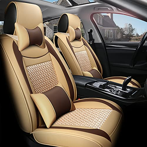FREESOO Car Seat Covers Leather, Full Set Carseat Cover Cushion Auto Interior Accessories Airbag Compatible for 5 Seats Vehicle Year Round Use (Khaki Brown 10)