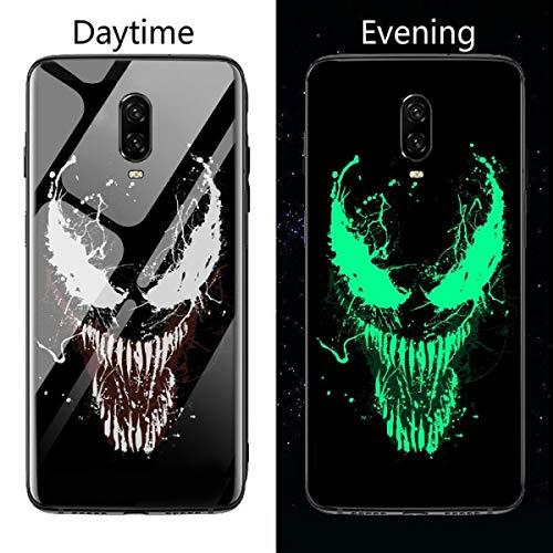 Marvel Venom Deadpool Iron Man Luminous Glass Phone Case for Oneplus 5 5T 6 6T 7 7Pro Avengers Batman Black Panther Cover Coque (Venom, OnePlus 6T)