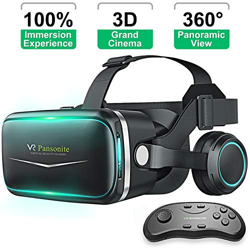 Pansonite Vr Headset with Remote Controller[New Version], 3D Glasses Virtual Reality Headset for VR...