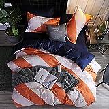 LAMEJOR Duvet Cover Set Queen Size Striped Pattern Reversible Luxury Soft Bedding Set Comforter Cover(1 Duvet Cover+2 Pillowcases) White/Orange/Blue