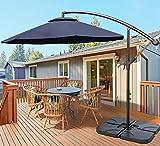 VOUA Offset Umbrella 10ft Cantilever Umbrella 8 Ribs Patio Hanging Umbrella Large Outdoor Umbrella with Crank & Cross Base for Backyard, Poolside, Lawn and Garden, Weight Base not Include, Navy