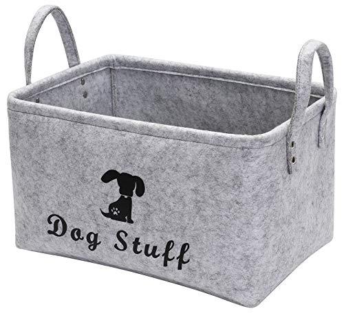 Geyecete- Cesta de Almacenamiento para perros, accesorios/Juguetes para perros/Cesta de almacenamiento de suministros para mascota/Caja de almacenaje con asas de poliuretano (gris claro)