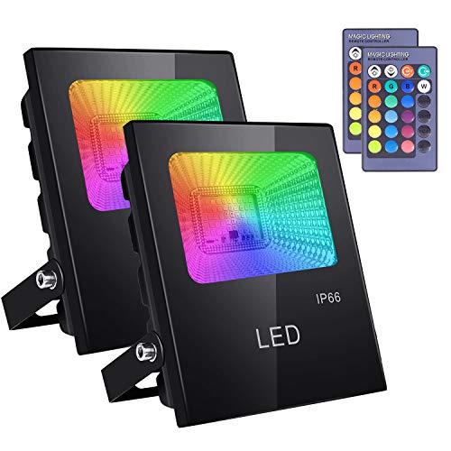 ICETEK 2er Pack LED Strahler Fluter RGB Farbwechsel Außenlampe Außenstrahler Fernbedienung IP66 Wasserdicht 16 Farben 4 Modi EU-Stecker für Party Weihnachten Garten Deko
