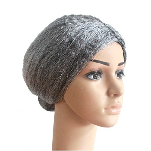 Deesos 1 pzas Cosplay pelucas Old Lady Grandma Granny peluca gris Bun pelo Grand Mother disfraces peluca corta (gris)