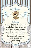 Biglietti Inviti battesimo personalizzati orsetto - partecipazioni battesimo legno bimbo bimba azzurro rosa set da 10 biglietti