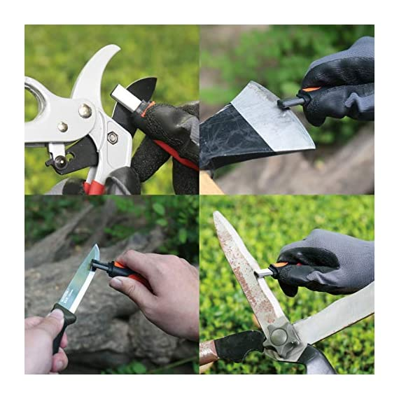 SHARPAL 105N Multipurpose Pocket Pruners Loppers Hedge Shears Scissors Axe Hatchet Machete Lawn Mower Blade Knife… 3 Full carbide construction for durable use Restore and hone all sorts of knives, garden implements, scissors, tools edge, etc. Compact & portable design with pen clip