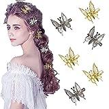 Horquillas de mariposa / 6 piezas, horquillas de mariposa huecas de metal con purpurina 3D, accesorio para el cabello de novia, horquilla de tocado simple