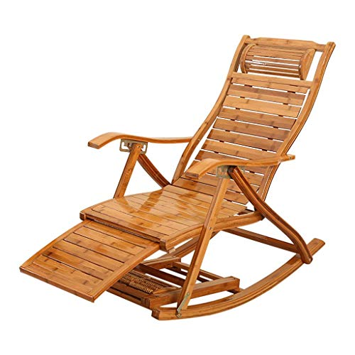 SGSG Garden Chair Beach Sun Lounger, Relax Foldable Rocking Chair Patio Lawn Chair Armchair with Comfortable Adjustable Curved Backrest