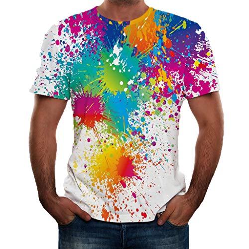 REALIKE Herren T-Shirts Kurzarm Mode 3D Farbe Drucken Mit O-Ausschnitt Tops Lässig Männer Loose Diverse Farben auswählbar Oberteile Sommer Strand Sport Fitness Gym Blouse