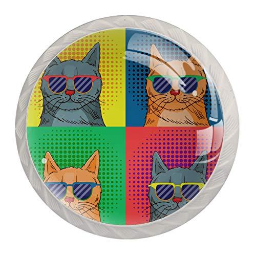 Perillas redondas decorativas para cajón, armarios, escritorios y armarios, colores, tiradores de puerta duraderos, diseño de gatos