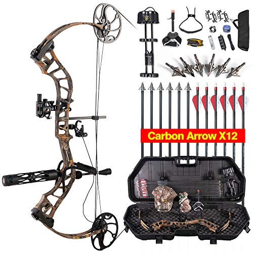 TOPOINT ARCHERY Daibow MOMENTOUS Compound Bow Package,CNC Milling Bow Riser,USA Gordon Composites Limb,BCY String,19'-30' Draw Length,19-70Lbs Draw Weight,IBO 320fps (Forest CAMO)