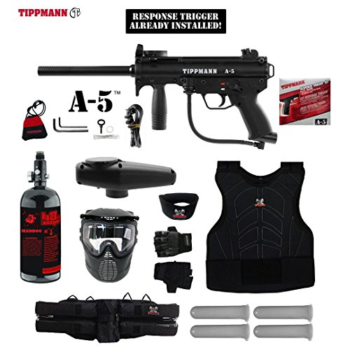 Maddog Tippmann A5 A-5 w/Response Trigger Starter Protective HPA Paintball Gun Package - Black