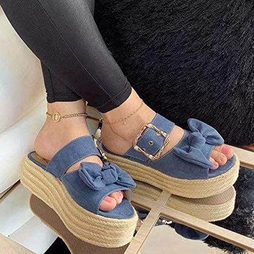 CCJW Zapatos de casa de secado rápido con puntera abierta, pantuflas con lazo, color azul, 43, cuña baja deslizarse en el dedo del pie sandalias kshu