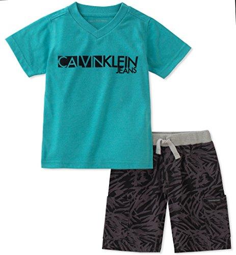 Calvin Klein Boys' Little 2 Pieces Shorts Set, Green, 6