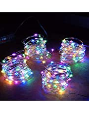 MIRADH 4 Pack of 10 Feet 30 Led 2 Mode Fairy Lights Battery Operated Waterproof Copper Wire Twinkle String Lights for Bedroom -Multicolor (2 Mode- Steady on & Flash-Pack of 4)