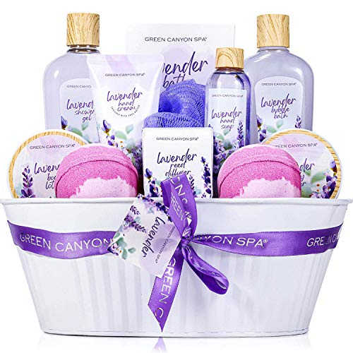 Spa Gift Baskets for Women - 12 Pcs Lavender Scent Bath Set Including Shower Gel Reed Diffuser Bubble Bath, Lovely Women Gifts Box for Birthday Valentine's Day