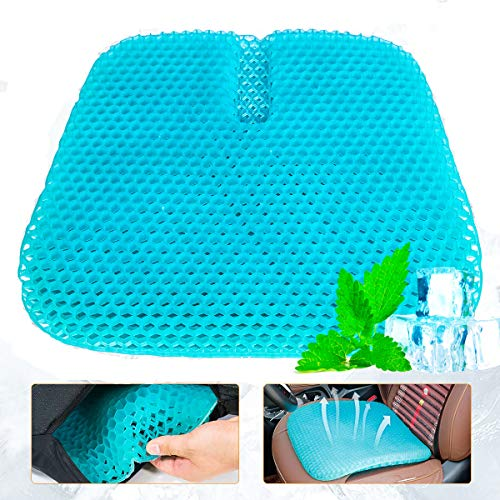 Large Size Gel Seat Cushion, Double Thick Honeycomb Office Cushion Seat Cushion Pad Breathable Car Home Gel Cushion Relief Back Pain Gel Cushion