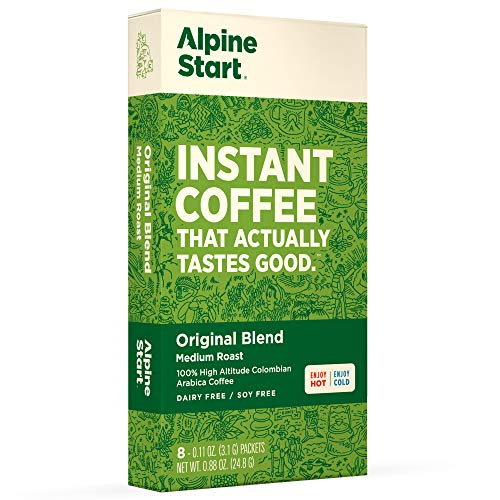 Alpine Start Premium Instant Coffee, 8 Single Packets, Original Blend, Medium Roast, 100% High...