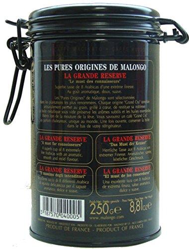Malongo マロンゴ レギュラー コーヒー 粉 ラ グランド レゼルヴ La Grande Reserve 細挽き 密封プルトップ缶 250g
