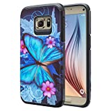 Galaxy S7 Case Cute Hard Hybrid Silicone Phone Case Defender Protective Case Cover Girl Women Compatible for Samsung Galaxy S7 Cases, Blue Butterfly
