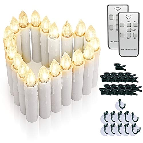 Amagic 20 PCS Flameless LED Window Candles with 2 Remote Controls and Timers, Christmas Tree Candle Lights, Battery Operated Taper Candles for Chandeliers Party Easter Decoration, Warm White
