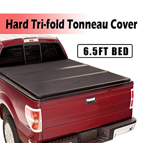 """Fit 2015-2020 Ford F-150 6.5FT/78"""" Bed (Excl.Raptor) Cover Lock Hard Tri-Fold Truck Bed Tonneau Cover, Aluminum Hard Solid Truck Bed Cover for 2015-2020 Ford F150 6.5FT/78"""" Bed, Easy to install"""