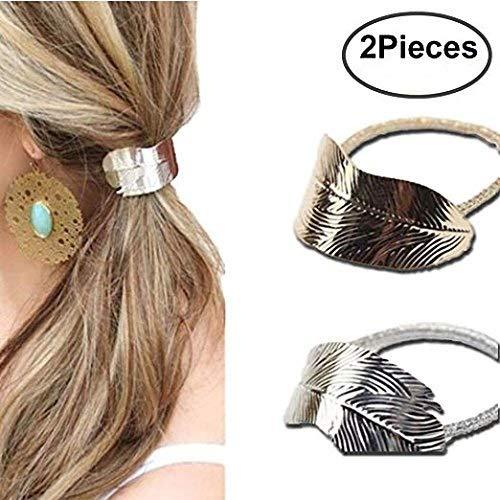 2 pcs Femme Lady Feuille Bandeau Cheveux Corde Mode Filles bandeau élastique Queue de cheval Accessoires (Doré et Argenté)