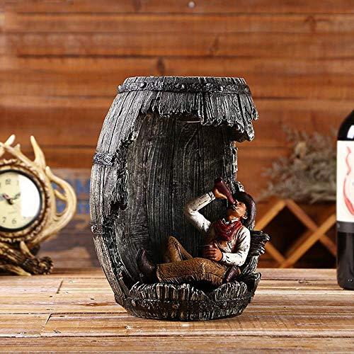 ZJN-JN Creativo Bar Ornamento del cowboy del barilotto di vino di illuminazione a LED Home Living Room Restaurant Decorazione d'epoca resina artigianato (20 * 18 * 24.5CM) elegante e bella accessori d