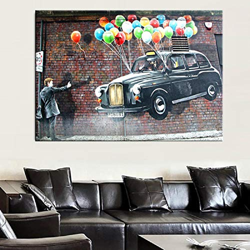 Street Graffiti Art Canvas Painting Coche Volando con Globos Art Wall Posters e impresiones Imagen de arte para la sala de estar 50x70cm (20x28in) Sin marco
