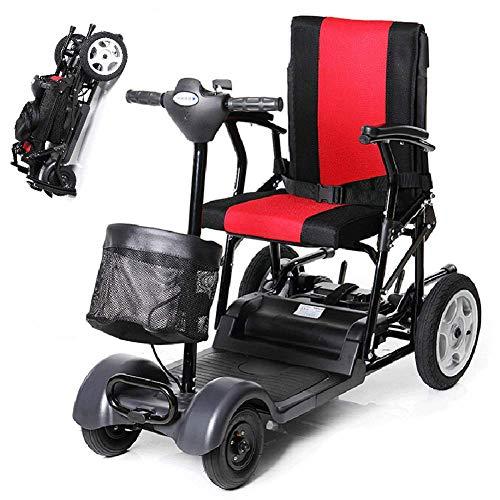 CGXYZ Elektromobile Für Senioren Faltbar,e-mobil Mini Scooter Elektro Elektrofahrzeug Elektromobil Für Erwachsene 100kg,elektroroller 4-Rad,Scooter E-mobil,seniorenfahrzeug,Red