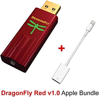 AudioQuest Dragonfly Red Mobile Bundle With DragonFly Red (Portable USB Preamp, Headphone Amp/DAC) And Lightning To USB Camera Adapter for Connection With Select iPhones, iPads, iPods